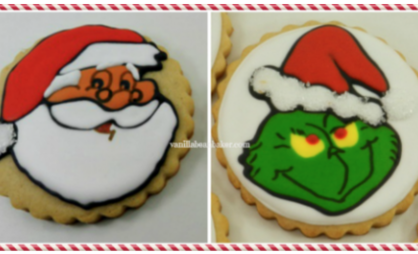 Santa and grinch cake decorating