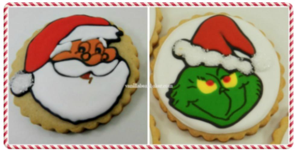 Santa and grinch cake decorating